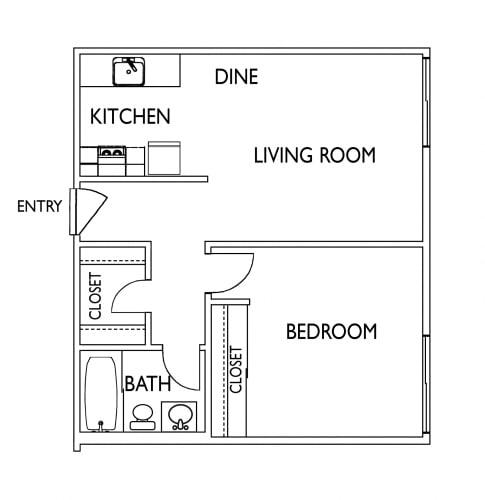 Floor Plan  Terra Linda Manor San Rafael CA 1 Bedroom Sq Ft 615