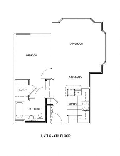 Floor Plan  The Piedmont North Hollywood, CA 1 Bedroom Floor Plan