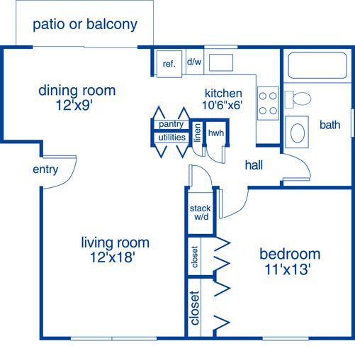 Floor Plan  1 Bedroom D 1 Bath Floor Plan at Merrick Place, Kentucky