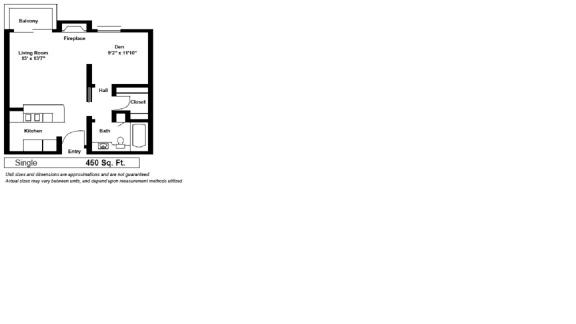 Floor Plan  Kingsley Plaza Los Angeles, CA Single Floor Plan 450 SF