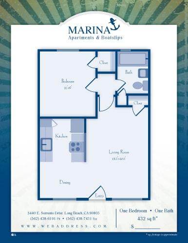 Floor Plan  Marina Apartments & Boat Slips Long Beach, CA One Bedroom One Bathroom Floor Plan 470 - 675 SF