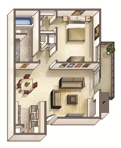 Floor Plan  The Hampton Floor Plan at Woodcreek Apartments, Cary, 27511