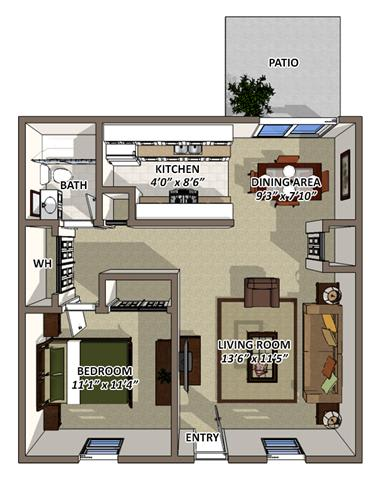 Floor Plan  The Berkshire Floor Plan at South Square Townhomes, Durham