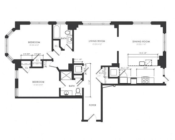 Floor Plan  Residence F - 2 Bedroom Executive