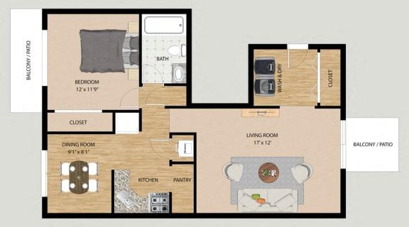 Floor Plan  One Bedroom One Bathroom Floor Plan at Prairie Pointe