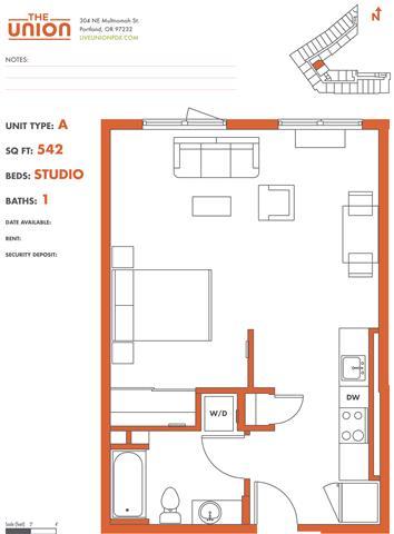 Floor Plan  The Union Portland OR Studio Sq Ft 574 Unit A-2