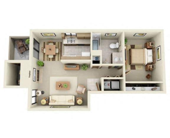 Floor Plan  The Beacon One Bedroom Floor plan at Mariner's Glen in Port Orchard, WA