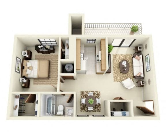 Floor Plan  Aspen Floor Plan 1 Bedroom 1 Bathroom  in Albuquerque, NM