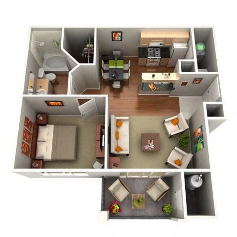 Floor Plan  Sage Floor Plan 1 Bedroom 1 Bath Apartments in Glendale AZ