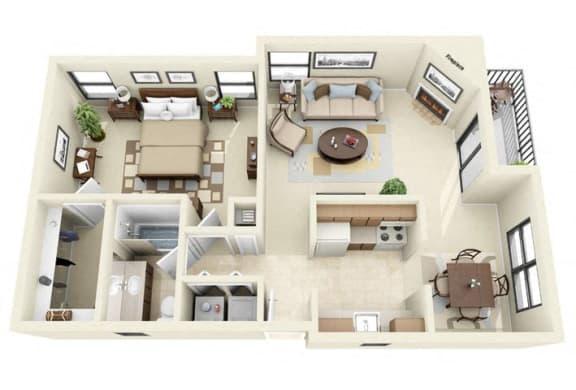 Floor Plan  Rincon | 1 Bedroom 1 Bathroom Floorplan near Tucson mall