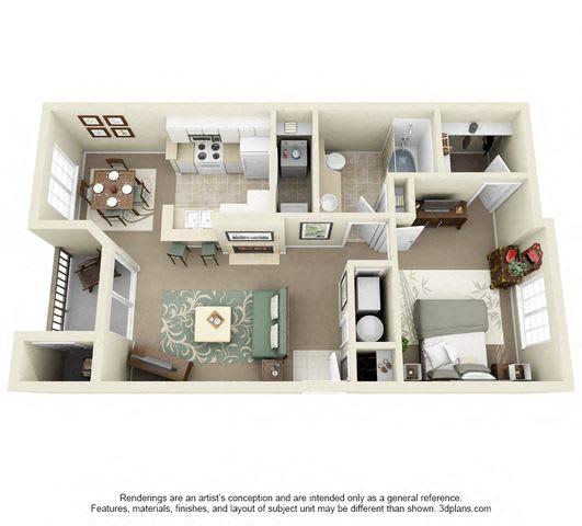 Floor Plan  Uinta One Bedroom One Bathroom 3D Floor Plan Image