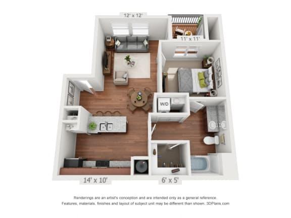 Floor Plan  One Bedroom Floor Plan at Ironhorse Apartments in Longmont CO