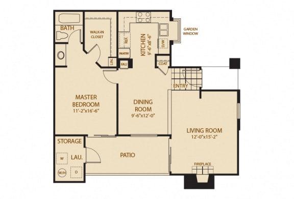 Floor Plan  A - 1 Bedroom 1 Bath Floor Plan Layout - 780 Square Feet