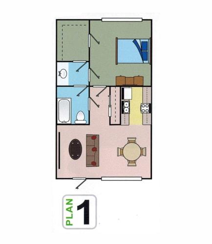 Floor Plan  One bedroom floor plan l Autumn Oaks Apts in Suisun City, CA