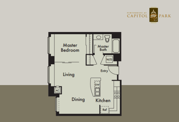 Floor Plan  One bedroom floor plan  l Penthouse at Capitol Park