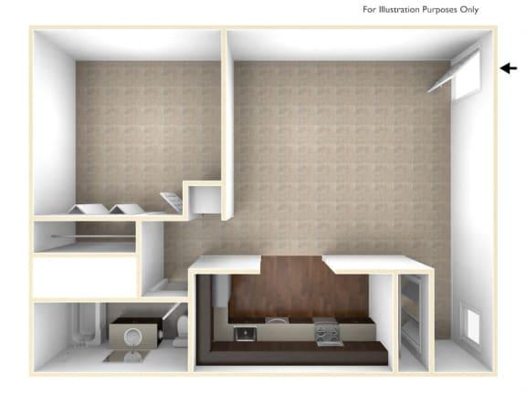 Floor Plan  One Bedroom Floor Plan Berkshire Peak Apartments