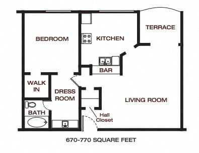 Floor Plan  The Summit at Point Loma_San Diego_CA_Floor Plan_One Bedroom One Bathroom