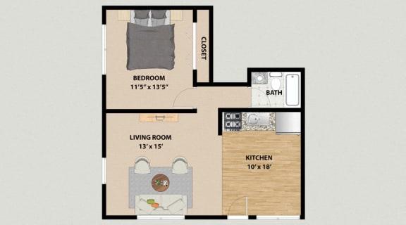 Floor Plan  One Bedroom One Bathroom Floor Plan at the Arbors