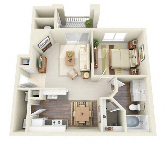 Floor Plan  Sisley 1 Bedroom 1 Bathroom 3D Floor Plan
