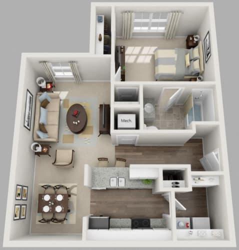 Floor Plan  Residences at Jefferson Crossing 1 Bedroom