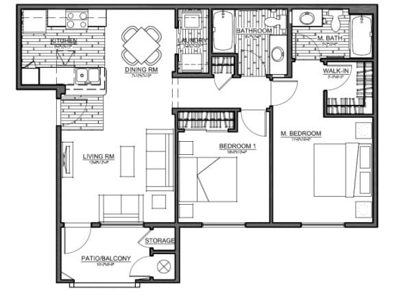 Floor Plan  Boulder Pointe 2 Bedroom floor plan, 976 square