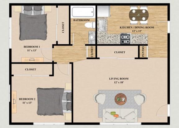Floor Plan  2 Bedroom 1 Bathroom Floor Plan at Cardinal Place