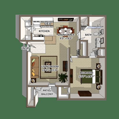 Floor Plan  One Bedroom Floor Plan at The Resort At Lake Crossing Apartments, PRG Real Estate, Lexington, Kentucky