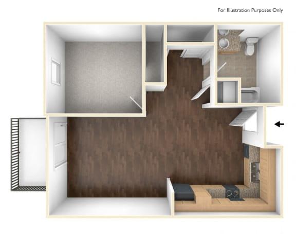 Floor Plan  1 Bed 1 Bath floorplan-Santa Cecilia Apartments, Los Angeles CA