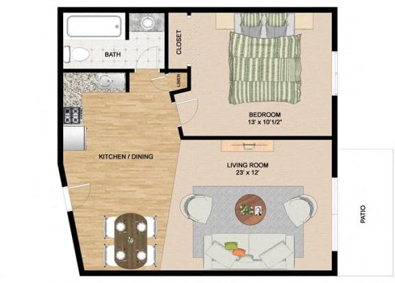 Floor Plan  Specious 1 Bedroom 1 Bathroom Floor Plan at Springtree Apartments, Middleton, 53562