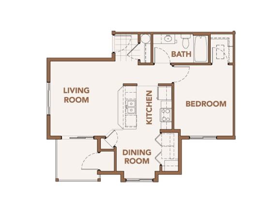 Floor Plan  One Bedrooms Apts Spokane WA 99224 l Copper River Apartments For Rent