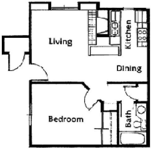 Floor Plan  Brittany Court one bedroom 2D floor plan