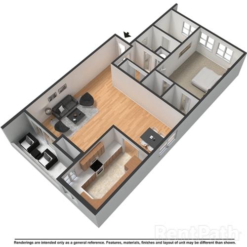 Floor Plan  1 Bed 1Bath