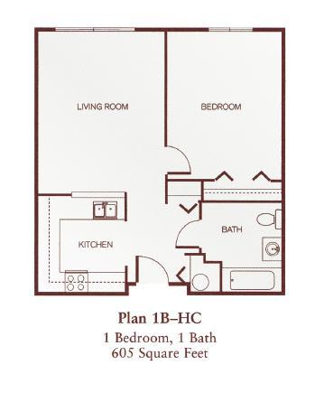 Floor Plan  One-Bedroom- 1B