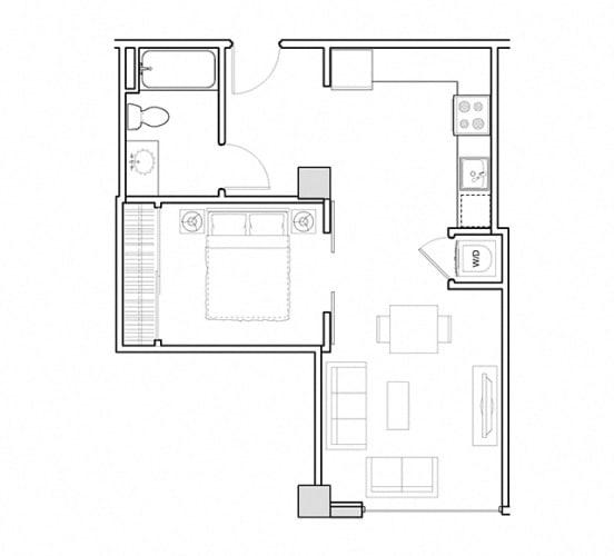 Floor Plan  One bedroom floor plan l 3rd Street Flats in Reno NV