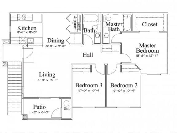 Floor Plan  3 Bedroom 2 Bath Floor Plan, 1,181 square feet with patio