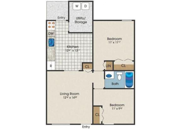 Floor Plan  two bedroom townhouse for rent