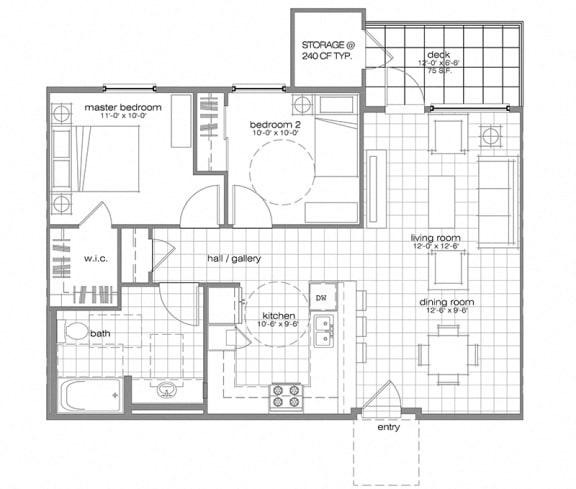 Floor Plan  two bedroom l Villa Encantada Apartments in San Diego CA