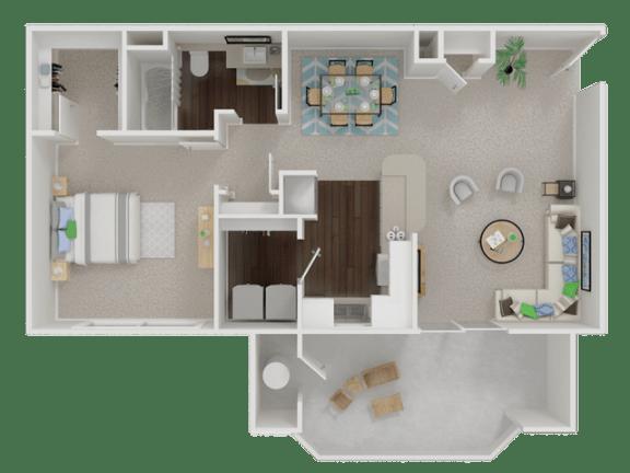 Floor Plan  one  bedroom floor planl Oak Brook Apartments in Rancho Cordova CA
