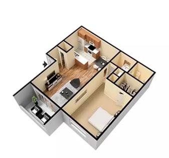 Floor Plan  1X1 Floor Plan Glendora CA 91740   Grand Terrace Apartments