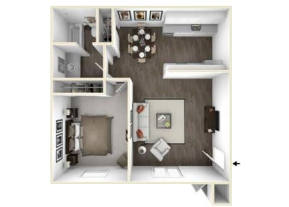 Floor Plan  1x1 units available at Park Vue Apartments in Santa Rosa, CA 95403