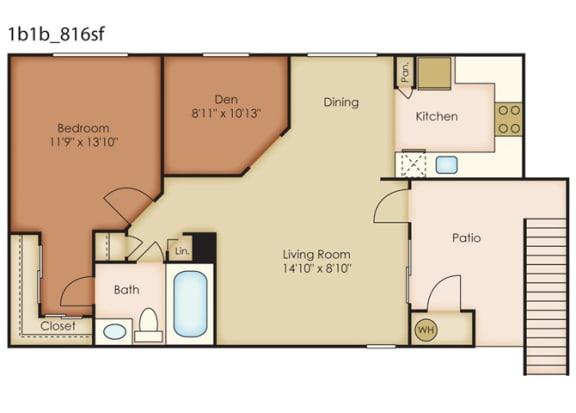 Floor Plan  Southridge_Pomona CA_Floor Plan_One Bedroom One Bathroom With Den