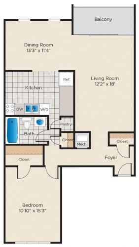 Floor Plan  1 Bedroom - Classic