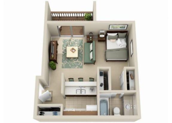 Floor Plan  Studio floorplan at Claremont Villas Apartments in Tucson, AZ