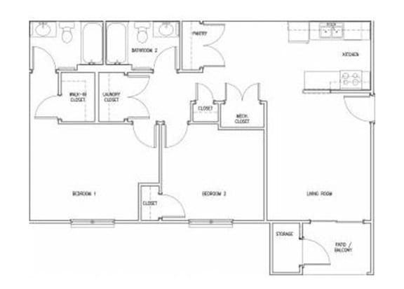 Floor Plan  2 Bedroom 2 Bath floor plan, 952 square feet