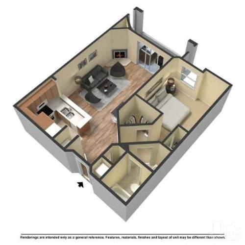 Floor Plan  One bedroom floor plan l The Retreat Apartments for rent in Santa Clarita CA