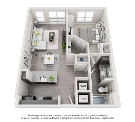 Floor Plan  One Bedroom Floor Plan - A4