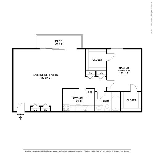 Floor Plan  1 BR 1BA