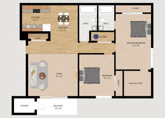 Floor Plan  Two Bedroom Two Bathroom Floor Plan at Whispering Trails