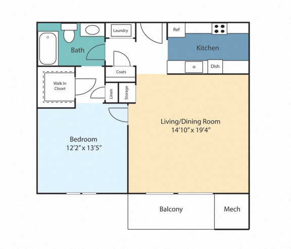 Floor Plan  One Bedroom Basil