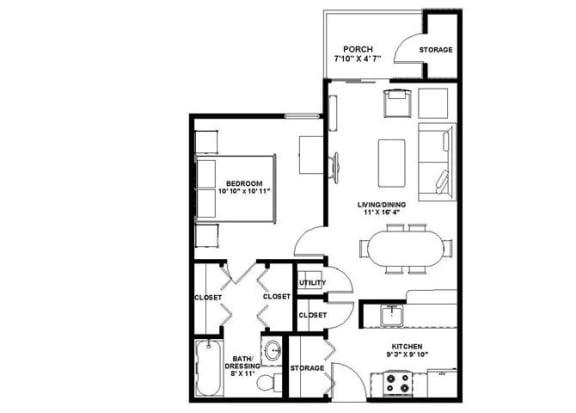 Floor Plan  1 Bedroom One Bath